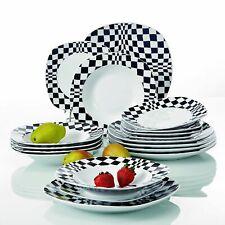 18Pc Dinner Set Dinnerware Dining Serving Tableware for 6 Crockery Black/White