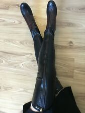 Authentic CHANEL over knee boots black/burgundy stretch leather EU 37 (US 6/6,5)