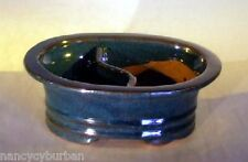 "Ceramic Bonsai Pot Dr Blue Glazed Oval Land/Water Divided 8""x 6"" x 3"""