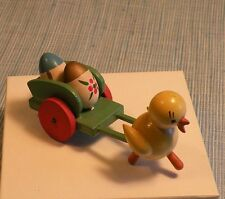 GOULA SPAIN-WOOD EASTER EGG & CHICK TOY WAGON