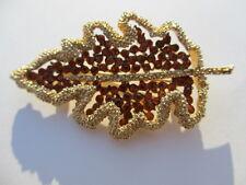 Vintage Coro Pave Cluster Amber Rhinestones Leaf Pin