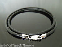 """3mm Black Leather 925 Sterling Silver Necklace Or Wristband 16"""" 18"""" 20"""" 22"""" 24"""""""