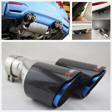 Left 63mm Inlet Carbon Fiber Car Dual Exhaust Pipe Tail Muffler Tip Chrome Blue