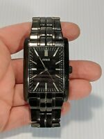 Guess Ion Plated Stainless Steel Dial Black Bracelet Square Watch U12660G1 Japan