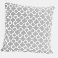 Gray Quatrefoil Print Geometric Cotton Canvas Throw PillowcCase Cushion Cover