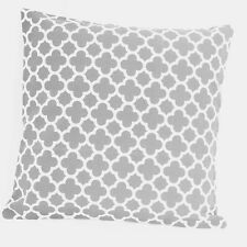 Gray Quatrefoil Print Geometric Cotton Canvas Throw PillowcCase Cushion Cover