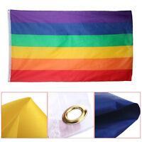 Regenbogenfahne Fahne Flagge Lesbian Gay Flag Rainbow Regenbogen 90X150cm H K5N3