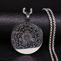Stainless Steel Pentagram Witchcraft Pendant Necklace Witch Wicca Goddess Angels