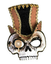 Sir Steampunk Skull Venetian Style Mask Brown Hat Victorian Costume Accessory