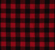 "Buffalo Plaid 1.25"" Buffalo Check Red Black Woven Cotton Flannel Fabric D278.20"