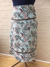Weird Fish Needle Cord Skirt Pale Blue Floral Print Size 12 VGC