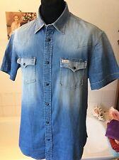 "Franklin & Marshall ~ Varsity fade wash denim poppered s/sleeve shirt ~ 41-42"""