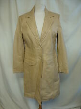 Ladies Leather Coat NEXT beige UK 14 petite, cut-out details, fitted, vgc 2181