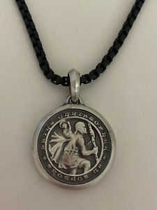 David Yurman. Silver Men's St Christopher Amulet Pendant with chain 26''