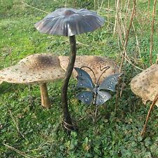 Handcrafted metal butterfly toadstool mushroom garden stake insect sculpture art