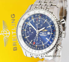 Breitling Navitimer World GMT Chronograph Steel Blue Dial Mens Watch A24322