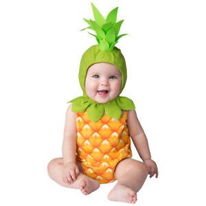 Ananas Baby Kostüm Strampler und Mütze mit Strunk Kinder Frucht Mädchen Junge
