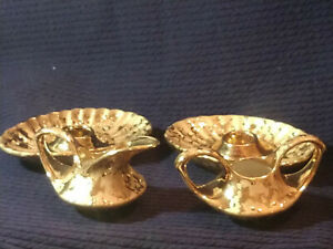 VINTAGE  ELYNOR GOLD (2) CANDLEHOLDERS AND CREAM AND SUGAR - U.S.A.