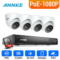 ANNKE 4x 2MP Dome Security Camera 4CH 6MP NVR 1080P Video POE System Outdoor 4TB