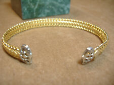 14K ITALY YELLOW AND WHITE GOLD CUFF BRACELET -ALSO MARKED SADUFA