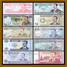 Iraqi 5 10 25 50 100 250 10000 Dinars (10 Pcs Saddam Era Set), 1986-2002 Unc