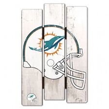 """Miami Dolphins Wood Fence Sign 11""""x17""""  [NEW] NFL Wall Man Cave Fan Wall Wooden"""