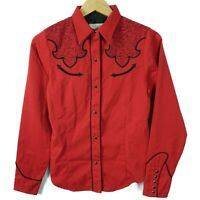Roper Womens Western Pearl Snap Shirt Red Black Long Sleeve Embroidered Sz Small