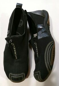 Merrell - ladies black zip mesh upper leather trim sport shoes J73426 - size 7.5