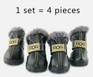 Pet Dog Shoes Waterproof Small Big Dogs Boots Cotton 4pcs fur Non-Slip Boots Set