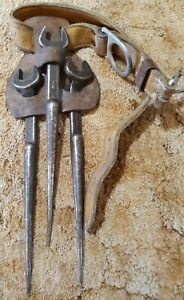 """Lot of 3 Ironworkers Spud Wrenches, Belt, carrier, Klein 3/4"""""""