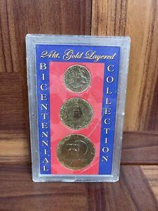 1976 BICENTENNIAL 24kt. Gold Layered Collection 3 Coin Set Ike JFK Quarter