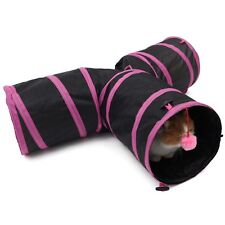3 Way Pet Cat Tunnel Toy Y Shape Foldable Kitten Play Exercise Tunnel Cave Ball Rose-red