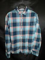 Eddie Bauer XXL 2X Blue Red Plaid Flannel Shirt Button Front Chest Pocket Mens