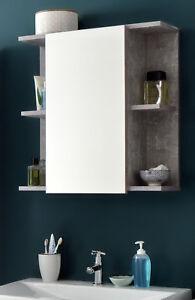 Spiegelschrank Badezimmer Bad Spiegel in grau Beton Regal 60 cm Beleuchtung Nano