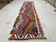 2'11'' x12''10'' Long Handmade Staircase Turkish Wool Kilim Kelim Rug Runner