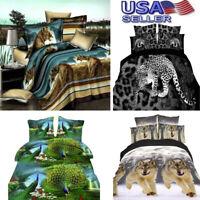 3D Fiber Duvet Cover Print Pillow Case Bed Sheets Animal Design Bedspread Tiger