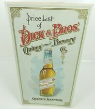 Nos Dick & Bros Quincy Illinois Brewery Price List litho sign bottle factory