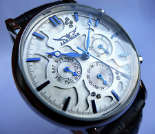 Elegant Vintage Styled Automatic Complications Day Date Steel Dress Wrist Watch