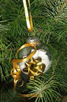 HAND CRAFTED GOLD BOW SNOW AND TOILET PAPER CHRISTMAS TREE ORNAMENT