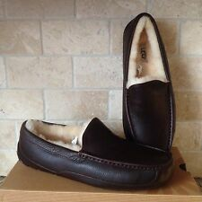 UGG ASCOT CHINA TEA BROWN LEATHER SHEEPSKIN SLIPPERS MOCCASIN US 13 3E WIDE MENS