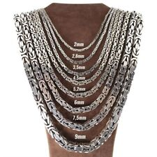 Solid 925 Sterling Silver Men's King Byzantine Box Chain Necklace! All Sizes