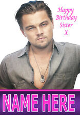 LEONARDO DICAPRIO A5 Personalised Birthday Card Any Name / Age / Relation 1