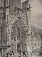 Grande lithographie Portail latéral de l'Eglise de THANN par Engelmann c1830
