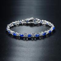 14k White Gold 18K White Gold Plated Blue Sapphire & Multi Gem Tennis Bracelet