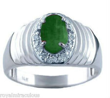 Mens Oval Green Emerald & Diamond Ring 14K White Gold