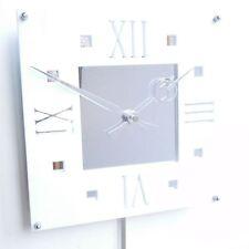 Roco Verre Déco Vintage Moderne Pendule Horloge Murale Blanc Brillant