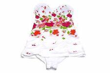 Jentzen Women's Floral  One-Piece Swimsuit, White Size 12