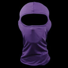 Solid Purple Polyester Microfiber Balaclava Ninja Swat Face Mask Liner Biker