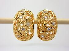Gorgeous Detail Cz Huggie Earrings 22K 18K Yellow Gold Gp Baht Thai Jewelry Gt33