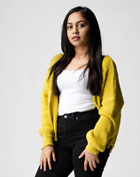 New ex ASOS Yellow Chunky Fluffy Rib Open Front Cardigan RRP £30 Sizes 2 - 18